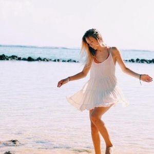 Brandy Melville White Semi Sheer Jada Slip Dress